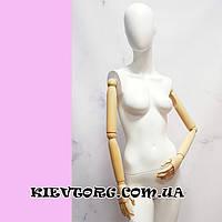 Манекен женский белый матовый с деревянными руками на шарнирах для витрины магазина одежды (+ Видео)