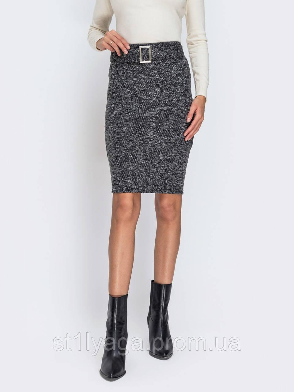 Лаконичная юбка-карандаш из букле цвет серый