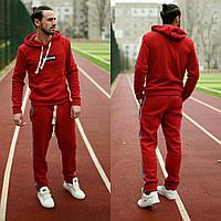 Теплый мужской спортивный костюм-двойка с капюшоном (Красный)