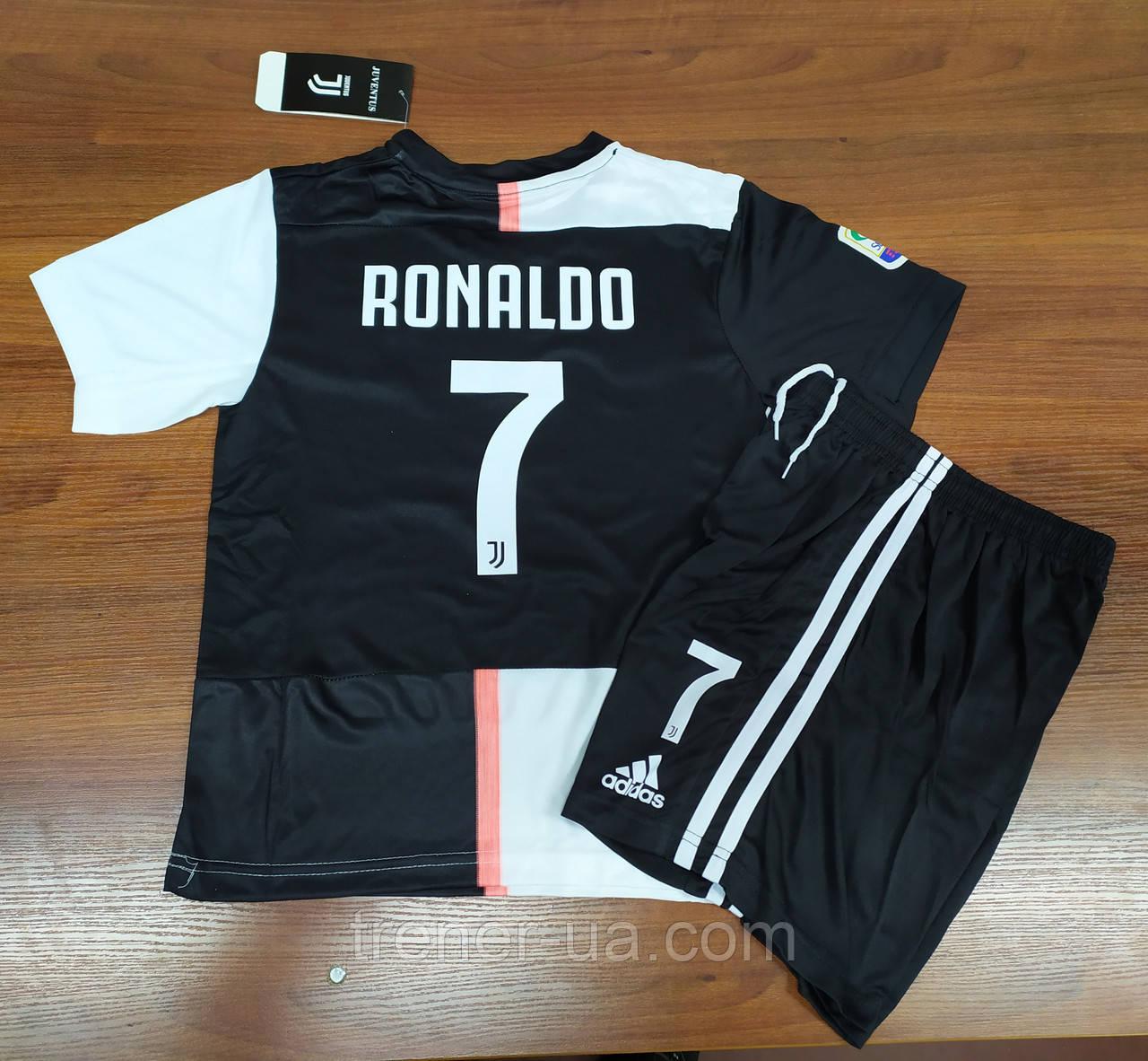 Форма дитяча в стилі Adidas Juventus Ronaldo сезон 2019-20 чорно-біла