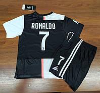 Форма детская в стиле Adidas Juventus Ronaldo сезон 2019-20 черно-белая