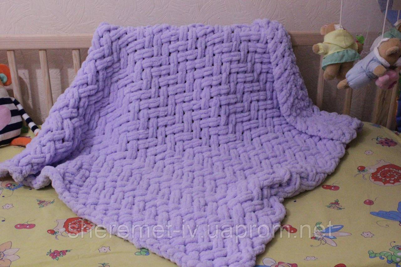 Детский плюшевый плед покрывало сереневый 90*90 см в коляску, кроватку или на выписку ручная работа