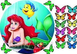 """Вафельна картинка на торт """"Русалонька Аріель"""" - Аріель + метелики"""