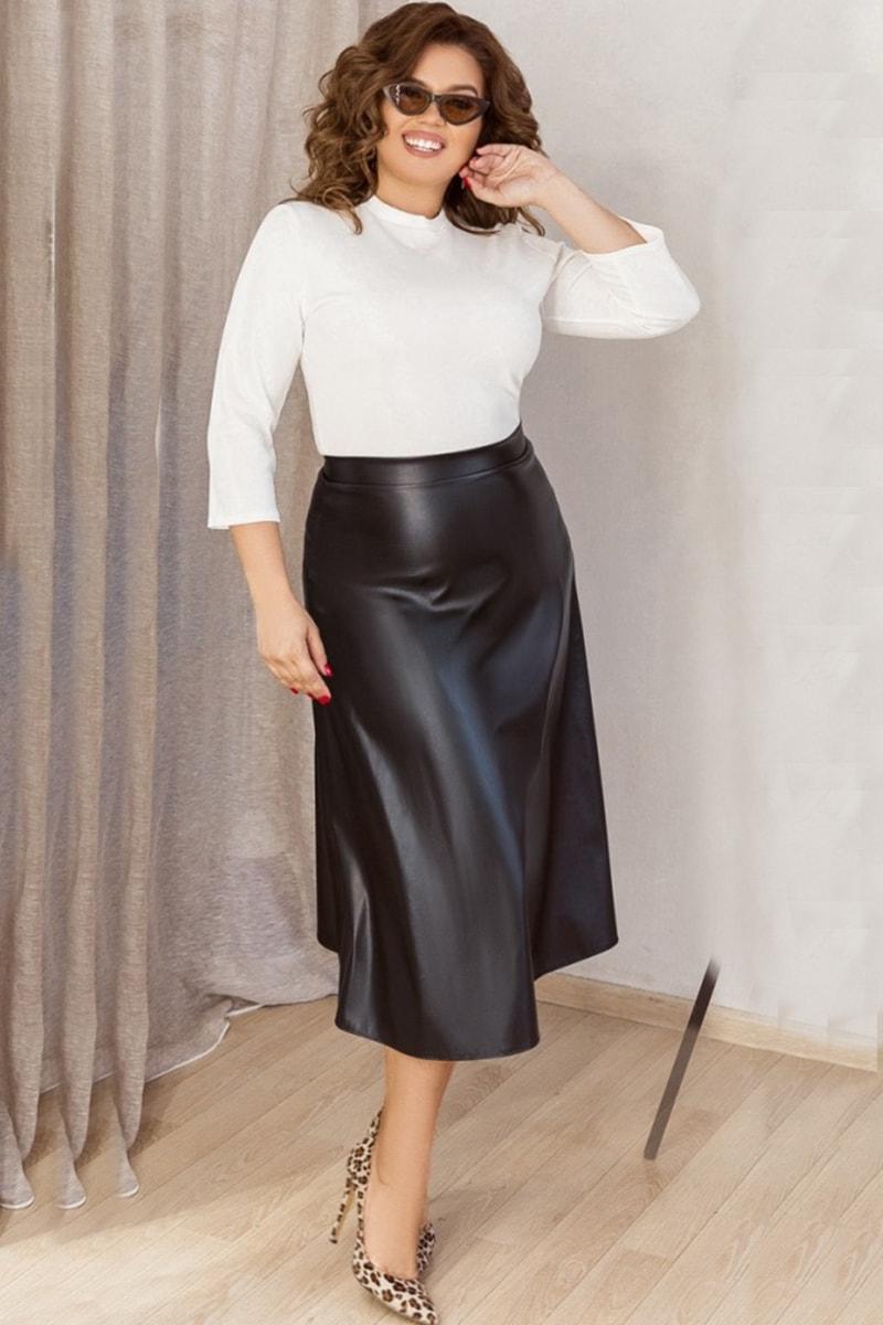 Черная юбка - колокол из экокожи Стрейс