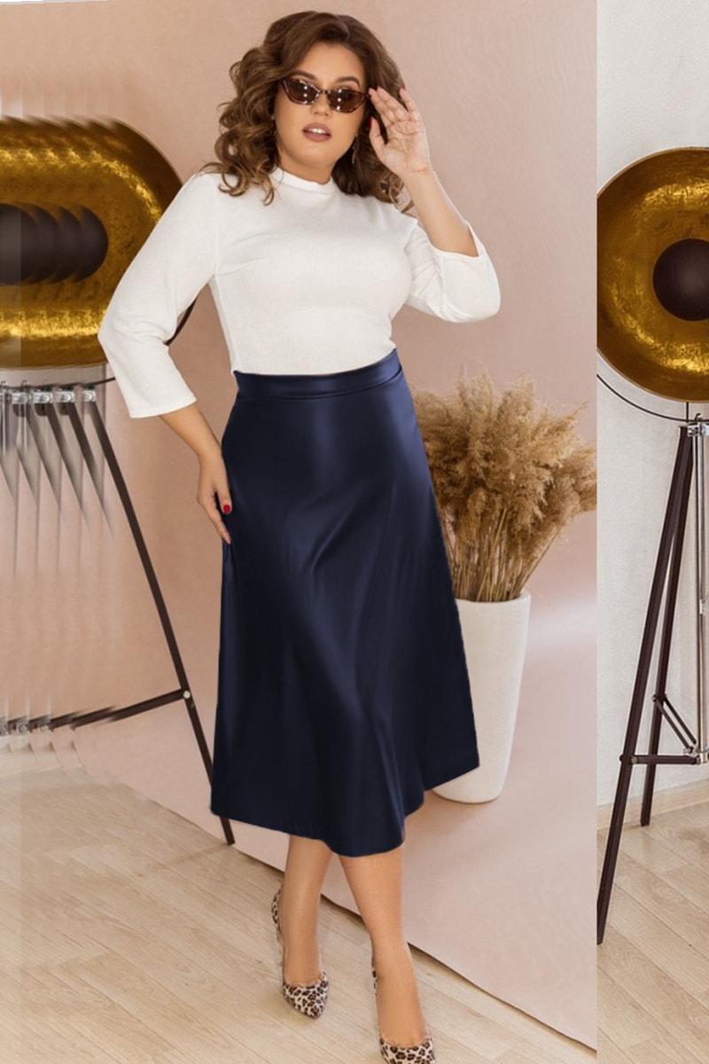 Расклешенная юбка  из экокожи Стрейс, синяя