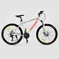 """Велосипед Спортивный CORSO DRAGON 26""""дюймов JYT 010 - 8288 WHITE-ORANGE (1) рама алюминиевая 17``, 21 скорость, собран на 75"""