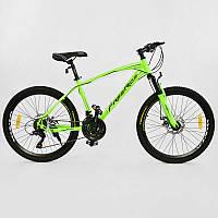 """Велосипед Спортивный CORSO Free Ride 24""""дюйма 0012 - 2315 GREEN-BLACK (1) рама металлическая 13``, 21 скорость, собран на 75"""