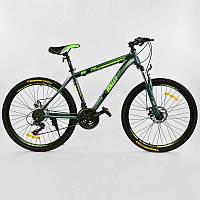 """Велосипед Спортивный CORSO K-Rally 26""""дюймов 0010 - 2315 BLUE-GREEN (1) рама металлическая 17``, 21 скорость, собран на 75"""