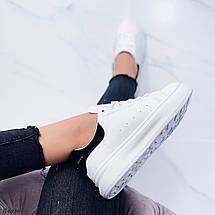 Кроссовки белые женские с черной пяткой, фото 2