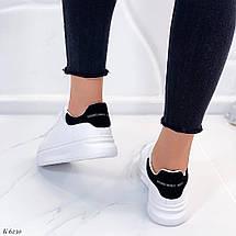 Кроссовки белые женские с черной пяткой, фото 3