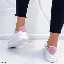 Белые кроссовки с розовой пяткой, фото 3