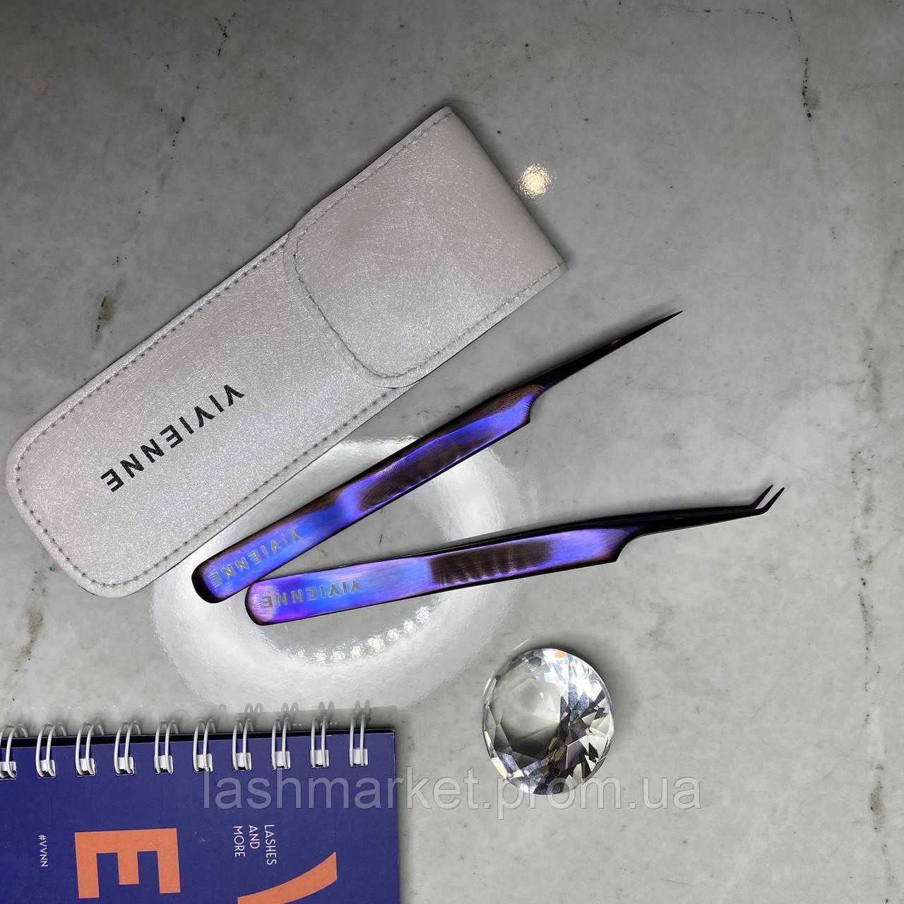 "Набор из 2 пинцетов ""Пурпурное сияние""(мини L и прямой+чехол ) для наращивания ресниц Vivienne"