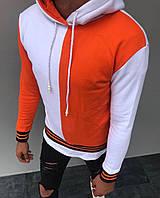 Теплая мужская кофта-худи бело-оранжевого цвета