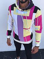 Теплая мужская кофта-худи обстракция белого цвета