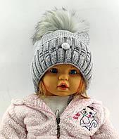 Детская вязаная Польская с 50 по 54 размер шапка детские шапки теплая зимняя помпоном, фото 1