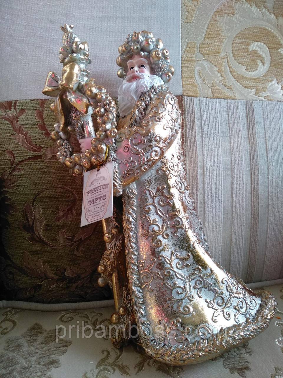 Новогодняя статуэтка Золотой Санта, 31см