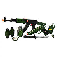 Детский набор военного (автомат, пистолет, нож, компас, свисток, граната, рация, наушники, бинокль) +ПОДАРОК
