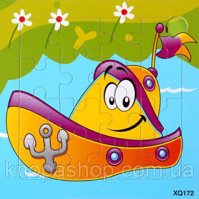 Деревянные пазлы  транспорт. Лодка