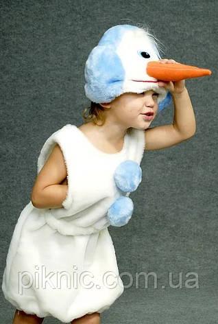 Карнавальный костюм Снеговик для детей 3,4,5,6 лет. Детский новогодний маскарадный костюм Снеговичок, фото 2