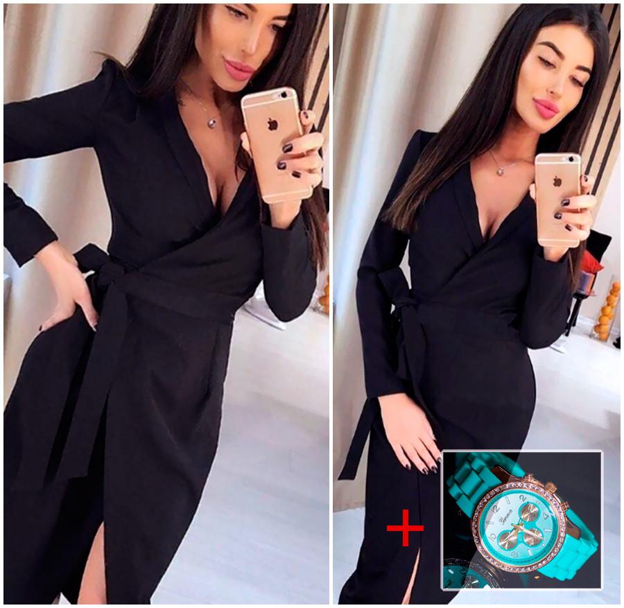 Черное платье (Код MF-413) + Часы в подарок!