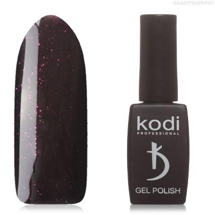 Гель лак Kodi  №110BW, черный, с пурпурными микроблестками