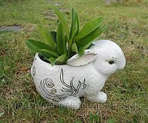 """Кашпо садовое из полистоун 22х14,5х13,8 см. """"Зайчик"""" белое, фигурное"""