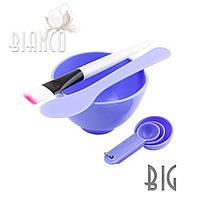Набор косметологический 4 в 1 (пластикова миска + кисточка + шпатель +мерные ложки) BIG