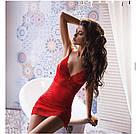 Атласная ночнушка на косточках красная стринги в комплекте Obsessive Lovica, фото 3