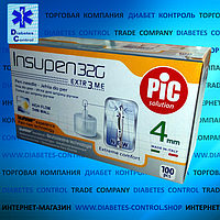 Иглы 4 мм для инсулиновой шприц-ручки INSUPEN / ИНСУПЕН 32G, 100 шт.