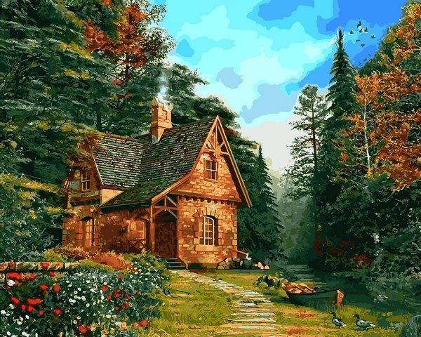 Картина для малювання за номерами Лісовий котедж 40х50см Mariposa Turbo