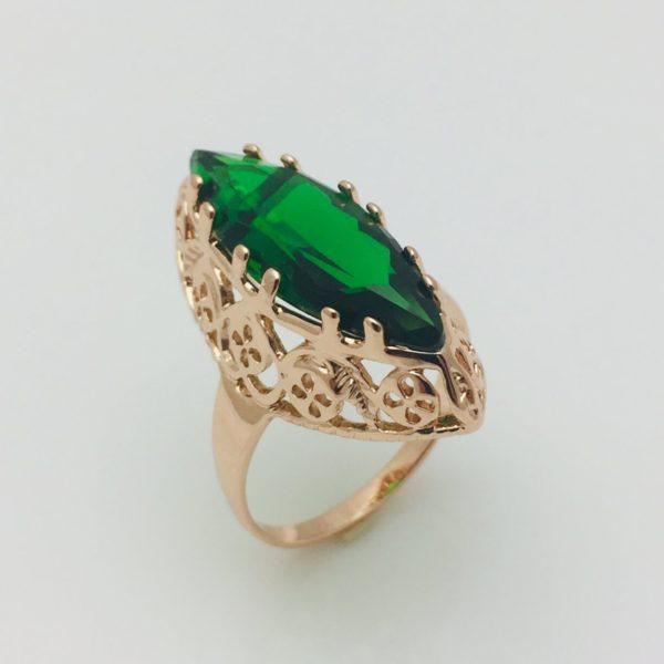 Перстень Маркиза зеленый камень, позолота 18К , размер  18, 19, 20, 21, 22