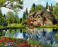Картина по номерам на холсте с подрамником Коттедж с видом на озеро