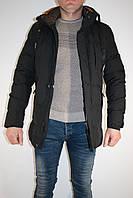 Курточка мужская зимняя  черная прямая.