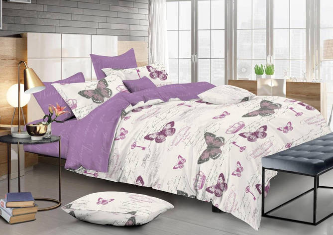 Двуспальный комплект постельного белья евро 200*220 сатин (13333) TM КРИСПОЛ Украина, фото 2