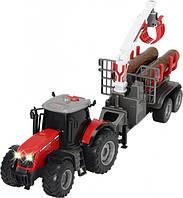 Трактор Dickie Toys Массей Фергюсон 8737 с прицепом для древесины со световыми и звуковыми эффектами 42 см (37