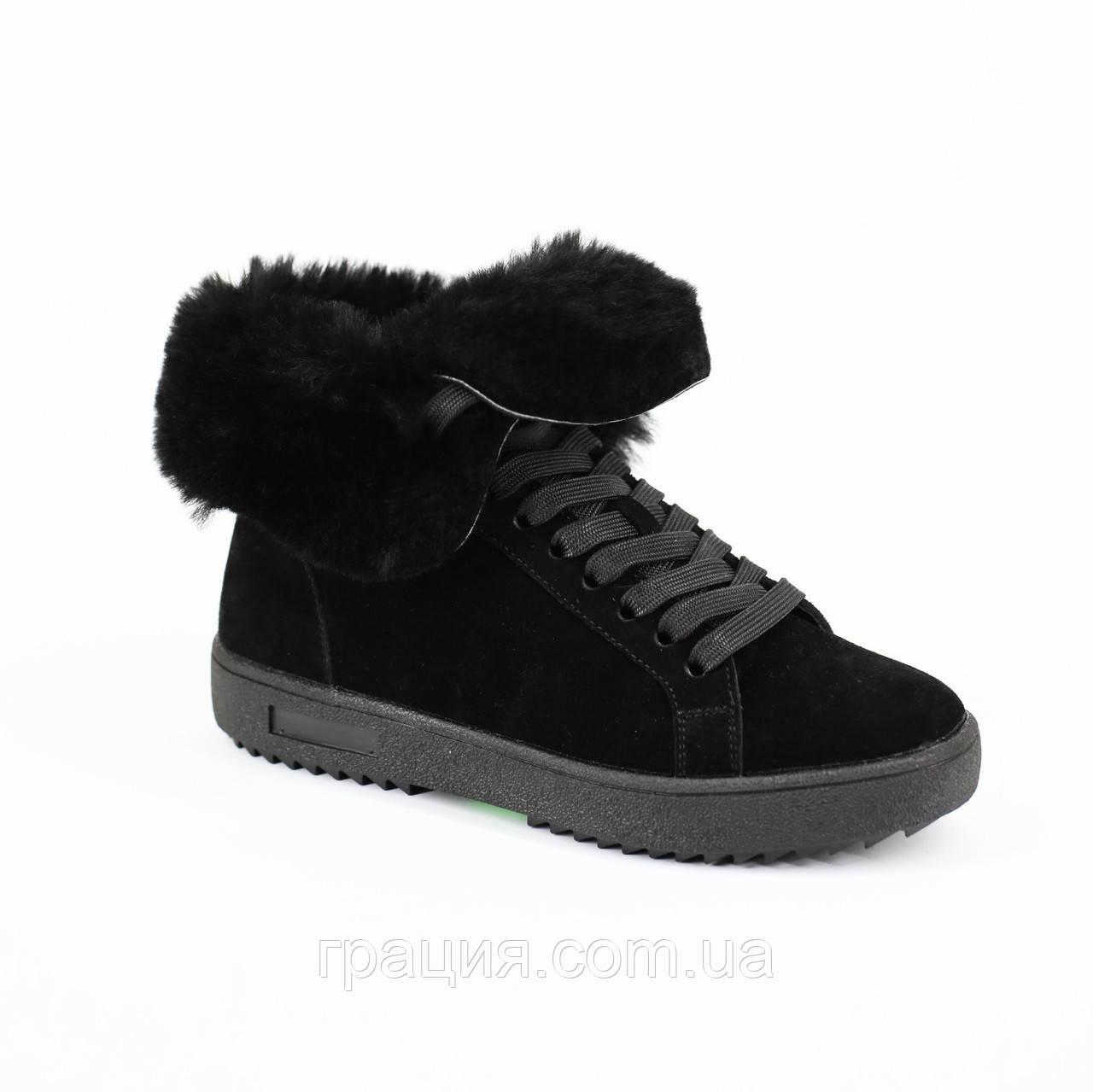 Модные женские замшевые зимние  ботинки c отворотом