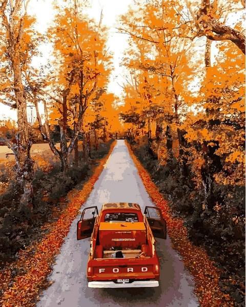 Картина для рисования по номерам Пейзаж Осенняя дорога 40х50см Mariposa Turbo