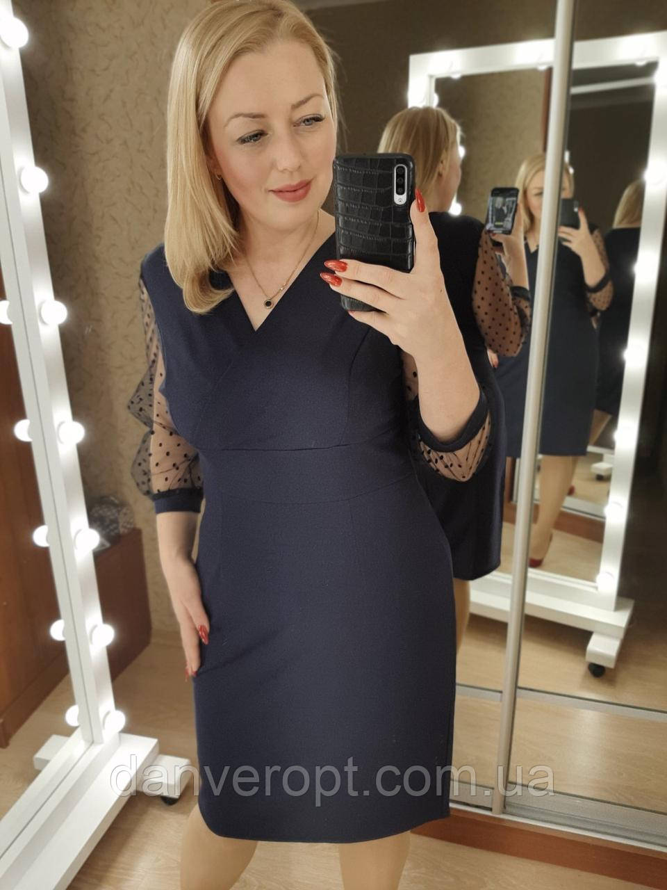 Платье женское модное с евро сеткой размер 50-56 батал купить оптом со склада 7км Одесса