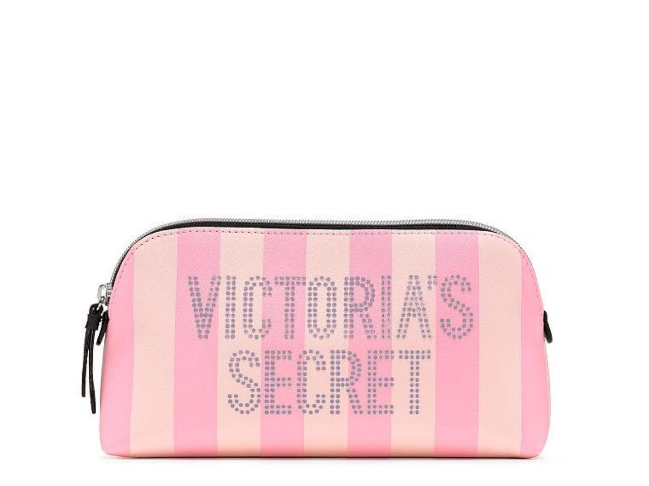 Victoria's Secret Фирменная Косметичка Signature Stripe Beauty Bag, Розовая в полоску