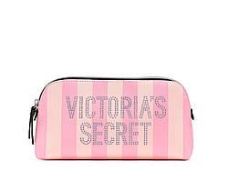 Фирменная Косметичка Victoria's Secret Signature Stripe Beauty Bag, Розовая в полоску