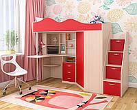 Дитяче ліжко-горище Art-In-Head ОКСФОРД АЛД-12 дуб шамоні+червоний