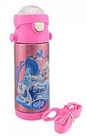 Термос детский с поилкой и шнурком на шею Disney 603 350 мл Frozen Розовый, фото 1