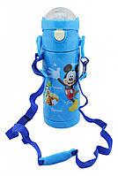 Термос детский с поилкой и шнурком на шею Disney 603 350 мл Микки Маус Голубой, фото 1