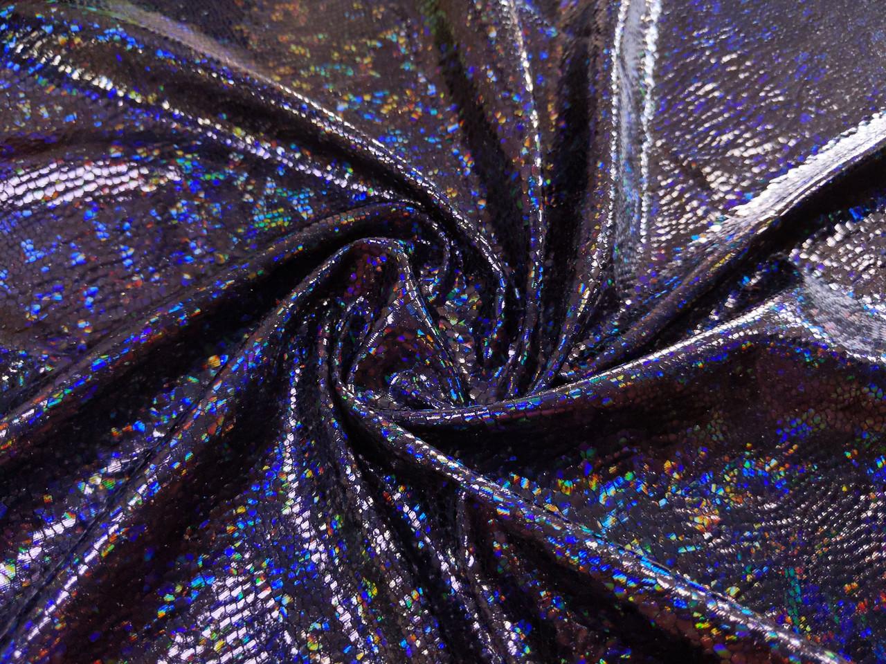 Трикотаж масло крупная голограмма, темно-синий на черном