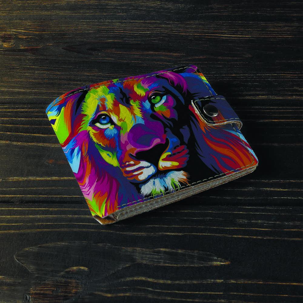 Кошелёк v.1.0. Fisher Gifts 15 Цветной лев (эко-кожа)