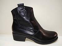Ботинки, казаки женские , размер 36, 37, 38, 39, 40, 41, 42, натуральная кожа, цвет черный, каблук 3 см.