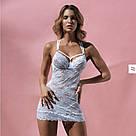 Кружевная ночная сорочка на косточках белая стринги в комплекте Obsessive 860, фото 3