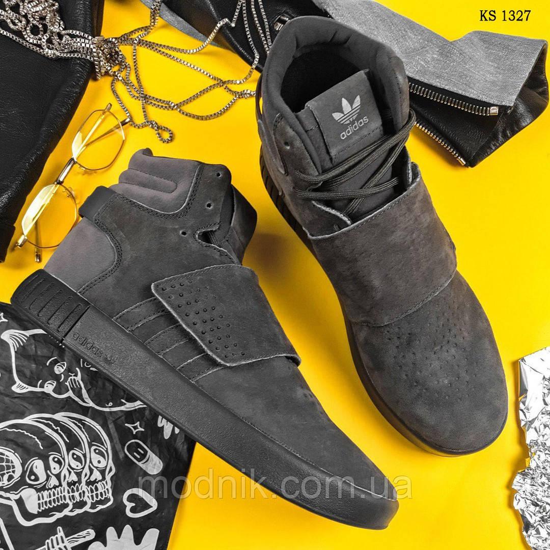 Зимние кроссовки Adidas Tubular Invader Strap (серые)