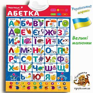 Абетка Плакат Букварик на украинском языке, абетка інтерактивна, український алфавіт