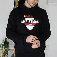 Теплая мужская однотонная кофта-худи  Christmas черная
